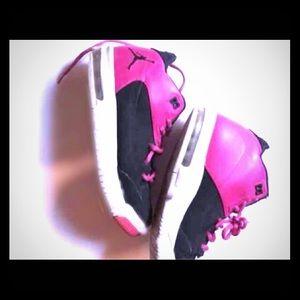 Kids Pink And Black Jordan's